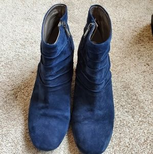 Women's Blue Sueded Ankle Boots